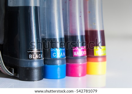 color tube of printer on table office
