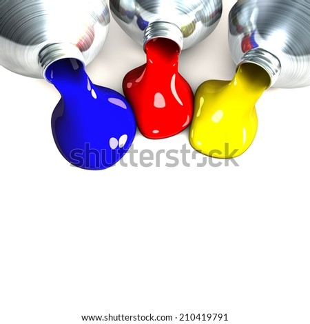 color tubes on white background - stock photo
