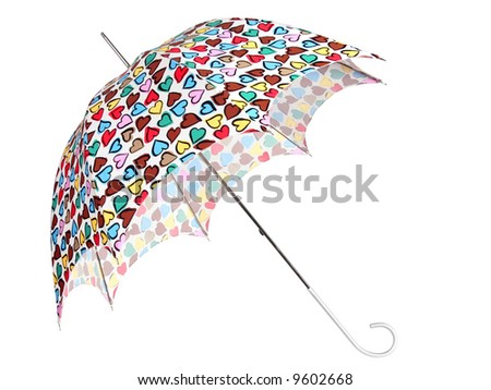 Color umbrella with heart on white