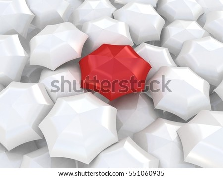 Color umbrella with white umbrellas. 3D illustration