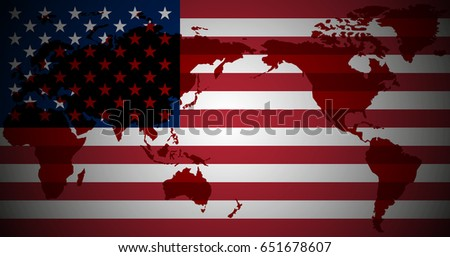 Color Us Flag Printed Map World Stock Illustration 651678607