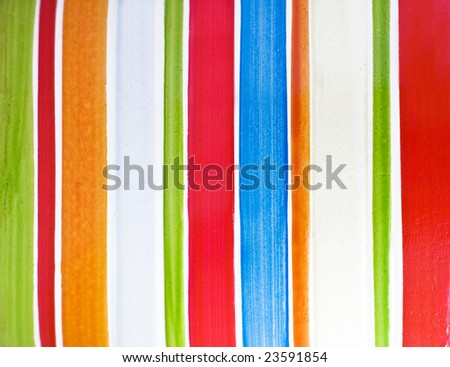 Color vertical strips painted on ceramic