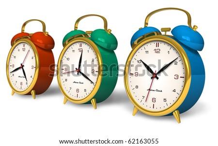 Color vintage alarm clocks - stock photo