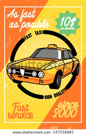 Color vintage taxi poster.