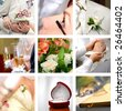 color wedding photos set - stock photo