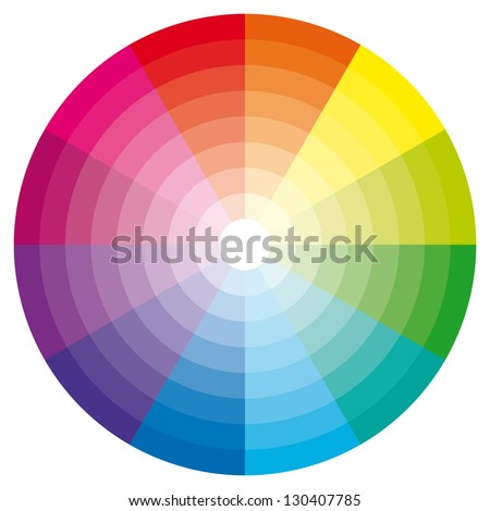 Color wheel with shade of colors. - stock photo