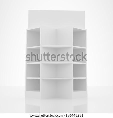 Color white shelves design on white background - stock photo
