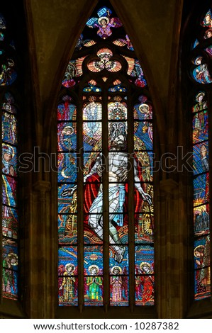 "color window - ""Holy Trinity St Vitus cathedral, Prague - stock photo"