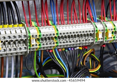 Color wires in a box of distribution of an electricity - stock photo