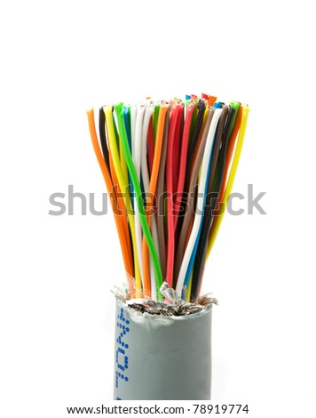 Color wires isolated on white background - stock photo