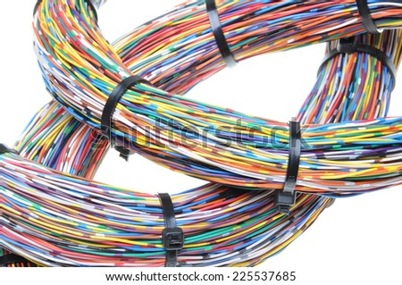 Color wires with cable ties isolated on white background - stock photo