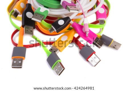 color wires with plugs on white background