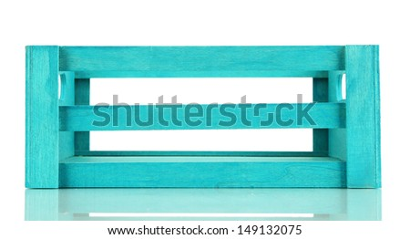 Color wooden crate, isolated on white - stock photo