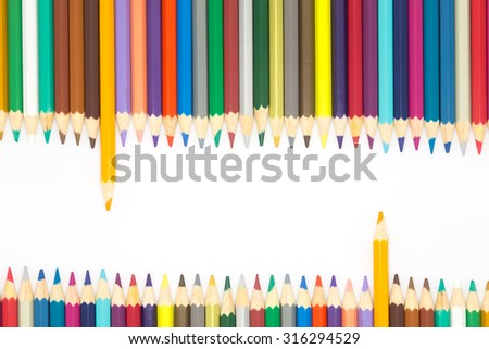 Color wooden pencils with different color over white background - stock photo