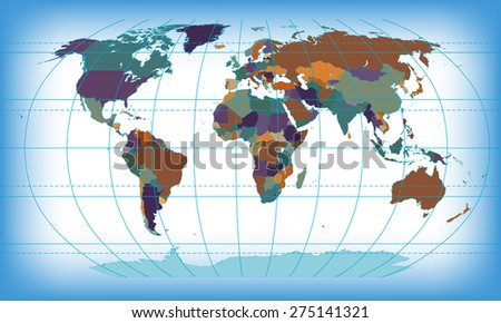 color world map - stock photo