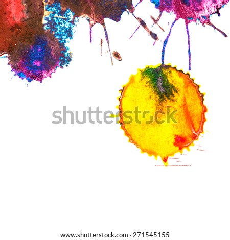 Color yellow rainbow ink stain on a white background. Elements of graphic design. Art abstract. - stock photo