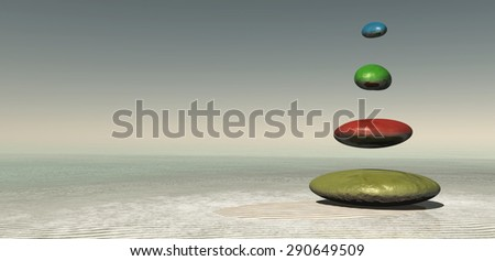 color zen stones concept in 3d - stock photo