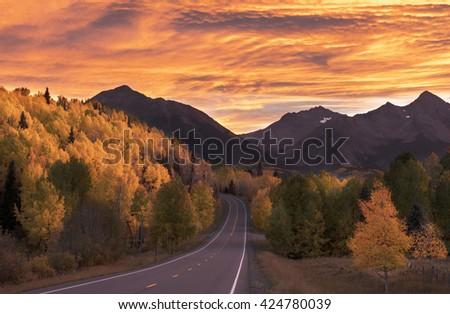 Colorado Autumn at sunset - stock photo