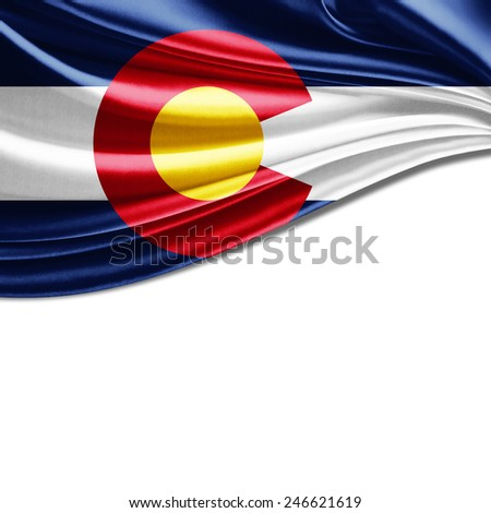 Colorado flag and white background