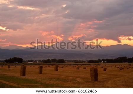 Colorado Harvest Sunset - stock photo