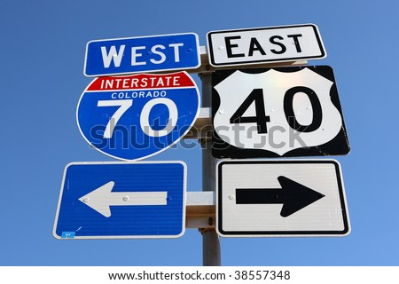 colorado interstate 70 and highway 40 sign in colorado - stock photo