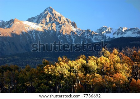 Colorado Landscape image of Mt. Sneffels a 14'er in the San Juan Mountains in autumn - stock photo