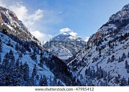 Colorado mountains from the Million Dollar Drive - stock photo