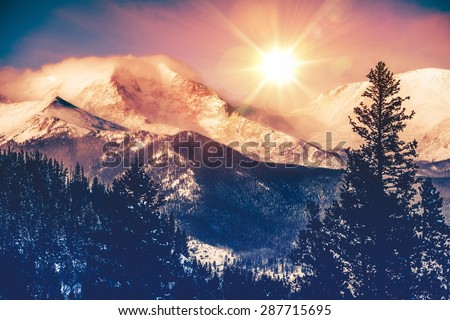 Colorado Mountains Vista in Abstract Color Grading. Rocky Mountain. - stock photo
