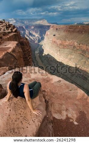 Colorado River and Grand Canyon at Toroweap - stock photo