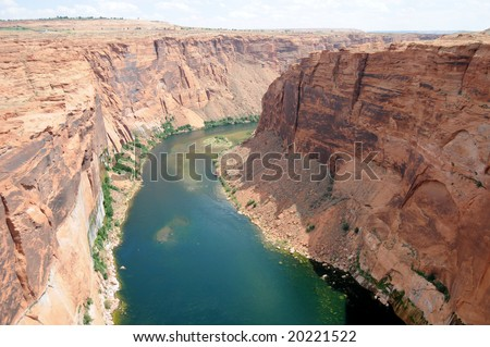 Colorado River running below the Glen Canyon dam, near Page in Arizona - stock photo