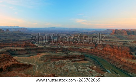 Colorado River sunrise landscape, Utah, USA. - stock photo
