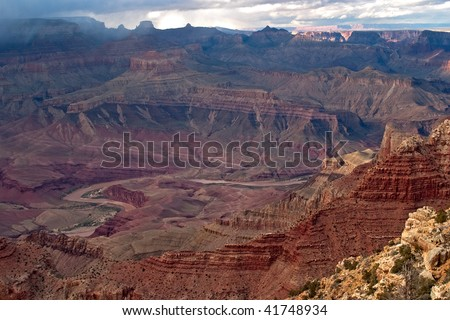 Colorado River winding through Grand Canyon, viewt from Lipan Point. - stock photo