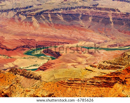 Colorado River winding thru the Grand Canyon, seen from Lipan Point