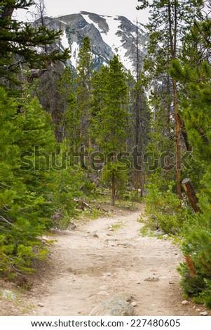 Colorado Rocky Mountains hiking trail - stock photo
