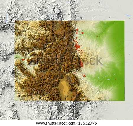 Colorado. Shaded relief map, with major urban areas and rivers, surrounding territory greyed out. Colored according to elevation. Clipping path for the state area included. Data source: NASA - stock photo