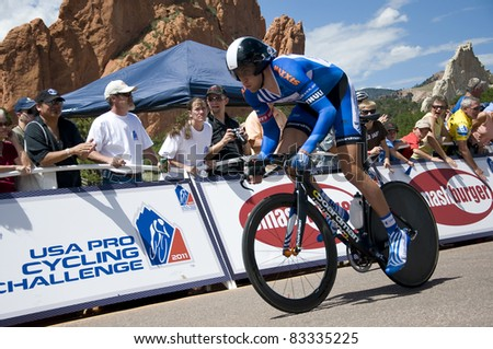 COLORADO SPRINGS, CO - AUG 22; Professional cyclist Adrian Hegyvary rides the prologue course of the 2011 USA Pro Cycling Challenge in Colorado Springs, USA on Aug 22, 2011 - stock photo