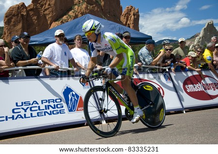 COLORADO SPRINGS, CO - AUG 22: Professional cyclist Juraj Sagan rides the prologue course of the 2011 USA Pro Cycling Challenge in Colorado Springs, USA on Aug 22, 2011 - stock photo