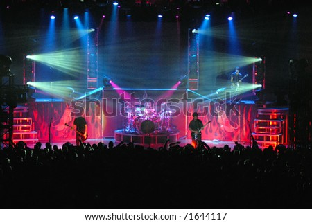 COLORADO SPRINGS, CO. USA - AUGUST 7: Heavy metal band Godsmack performs in concert August 7, 2007 at the City Auditorium in Colorado Springs, CO. USA - stock photo