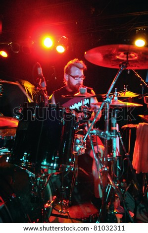 COLORADO SPRINGS, CO. USA – JULY 6:	Drummer Craig Wingate of the Heavy Metal band Shamans Harvest performs in concert on July 6, 2010 at the Black Sheep Theater in Colorado Springs, CO. USA