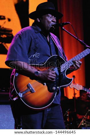 COLORADO SPRINGS, CO. USA     MARCH 30:Guitarist Taj Mahal performs in concert March 30, 2012 at the Pikes Peak Center in Colorado Springs, CO. USA - stock photo