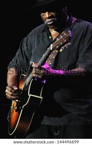 COLORADO SPRINGS, CO. USA   	MARCH 30:		Guitarist Taj Mahal performs in concert March 30, 2012 at the Pikes Peak Center in Colorado Springs, CO. USA