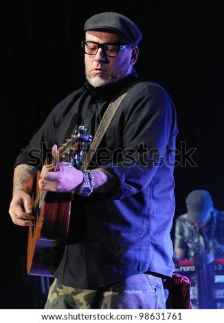 COLORADO SPRINGS, CO. USA	MARCH 06:		Vocalist/Guitarist/Rapper Erik Schrody (Everlast) of the band Everlast performs in concert March 06, 2012 at the City Auditorium in Colorado Springs, CO.