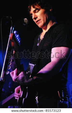 COLORADO SPRINGS, CO. USA – SEPT. 24:	Vocalist/Guitarist Don Miggs of the Rock Band Miggs performs in concert September 24, 2011 at the Black Sheep Theater in Colorado Springs, CO. USA
