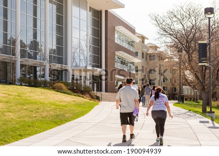 Colorado Springs, Colorado/ USA -April 26, 2014: New student orientation day at University of Colorado at Colorado Springs. - stock photo