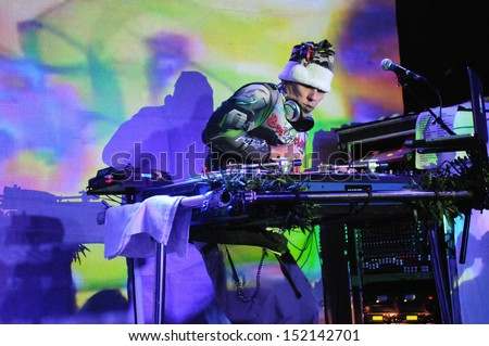 COLORADO SPRINGSNOVEMBER 30:DJ Bobby B of the Alternative band the Kottonmouth Kings performs in concert November 30, 2011 at the Black Sheep music hall in Colorado Springs CO. - stock photo