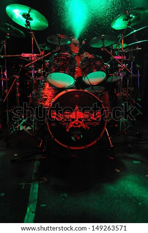 COLORADO SPRINGS		OCTOBER 08:		Drummer Phil Kessler of the Heavy Metal band Sanguine Addiction performs in concert October 8, 2012 at the Black Sheep music hall in Colorado Springs CO.