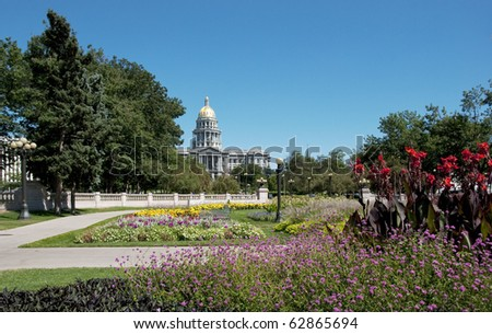 Colorado state capitol building in Denver, from the Civic Center Park. - stock photo