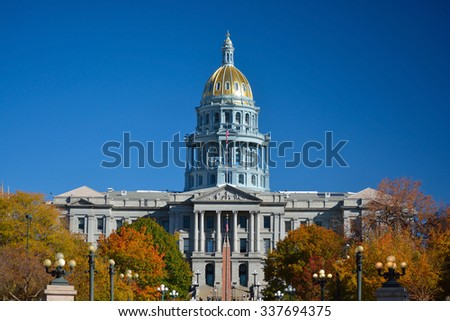 Colorado State Capitol Building with Colorful Fall Leaves - stock photo