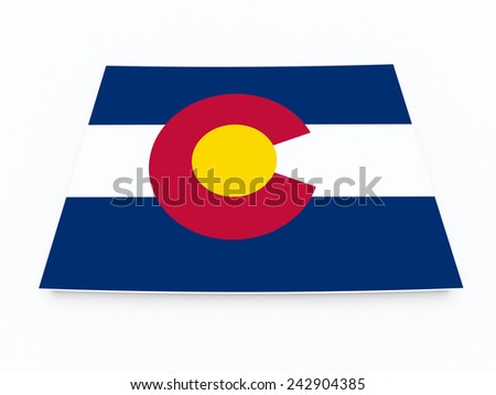 Colorado state flag on 3d map - stock photo