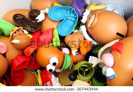 Colorado, USA - August 18, 2015: Studio shot of a pile of a variety of Potato Head pieces.